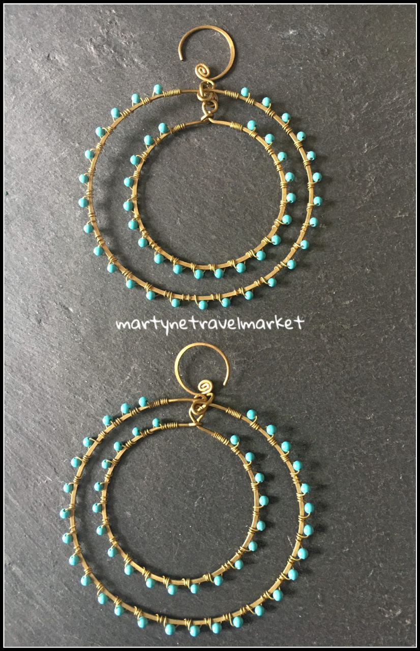 DOUBLE CREOLES ET TURQUOISE