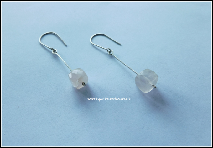 BOUCLES CARREES QUARTZ ROSE